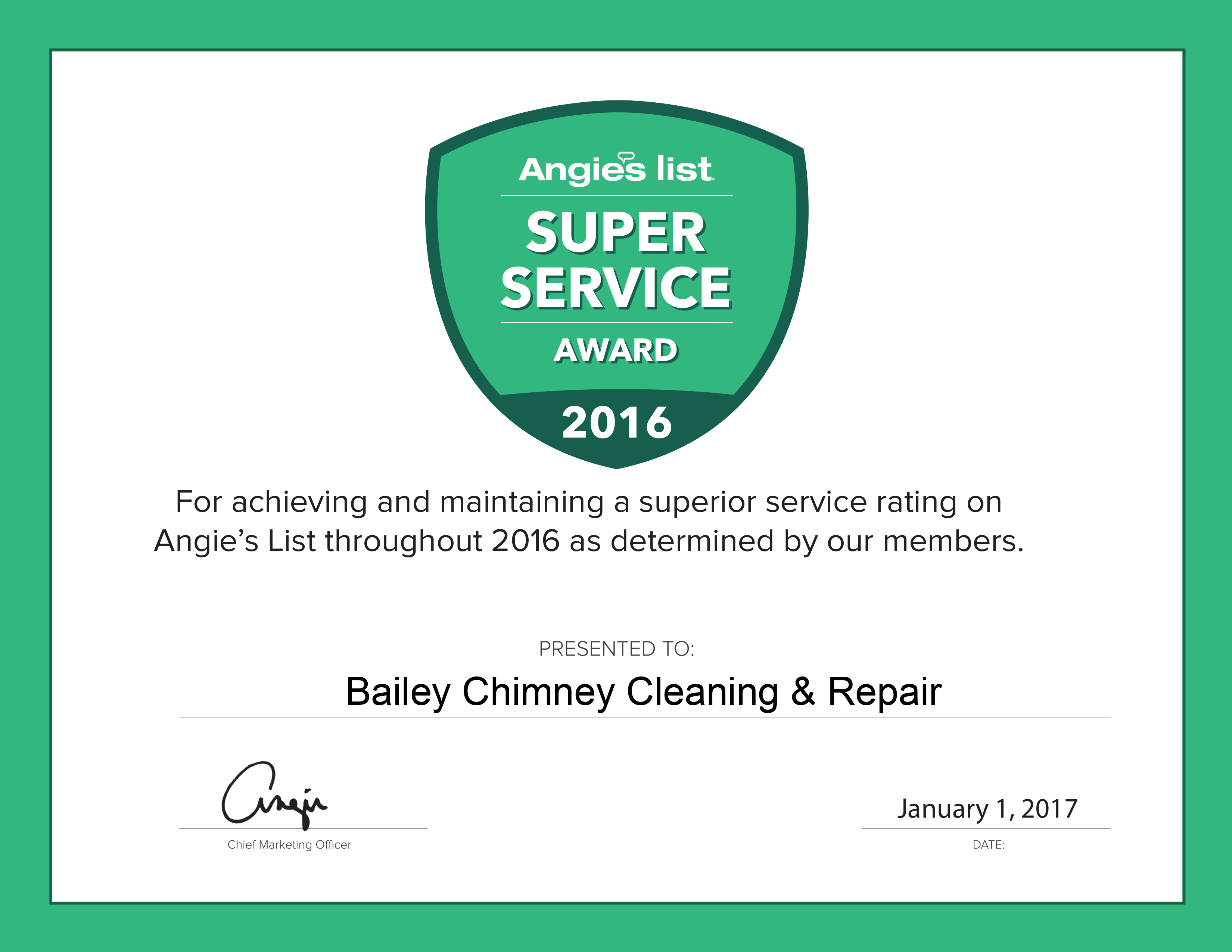 Angies List super service award chimney cleaning & Repair